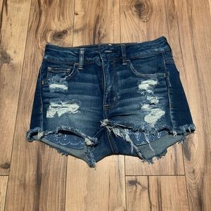 Distressed hi-rise denim shorts